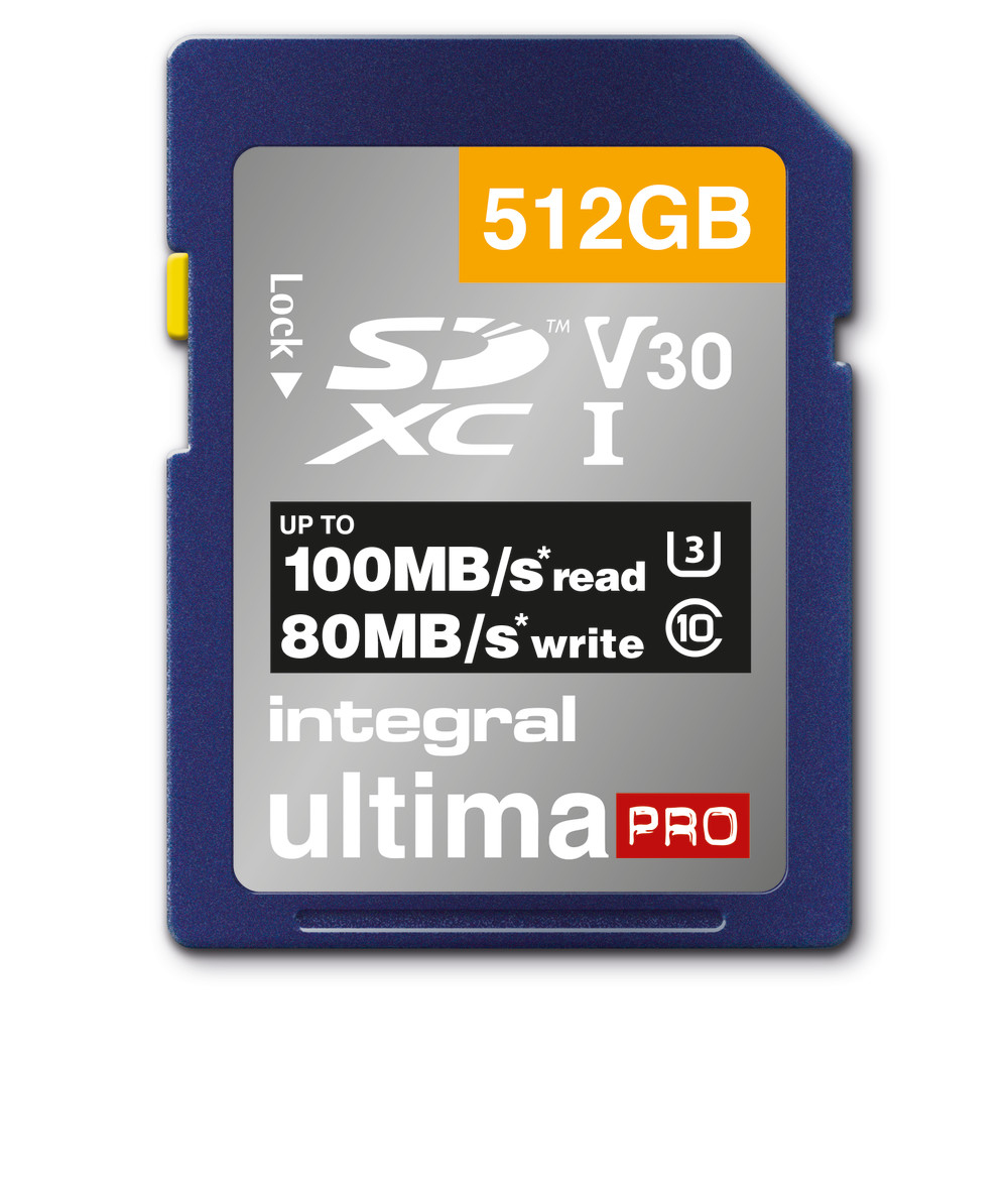 Integral 512GB SD CARD SDXC UHS-1 U3 CL10 V30 UP TO R-100 W-80 MBS
