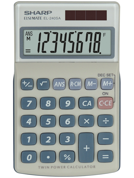 Sharp EL-240SA calculator Pocket Basic Blue,Grey