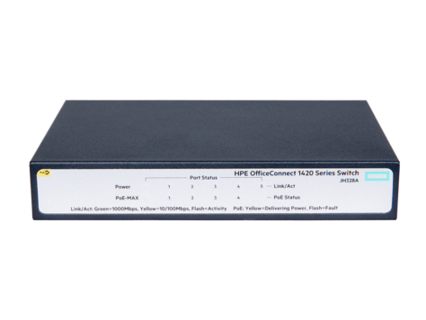 HPE JH328A OFFICECONNECT 1420 5G POE+ (32W) UNMANAGED NETWORK SWITCH L2 GIGABIT ETHERNET (10/100/1000) POWER OVER (POE) 1U GR