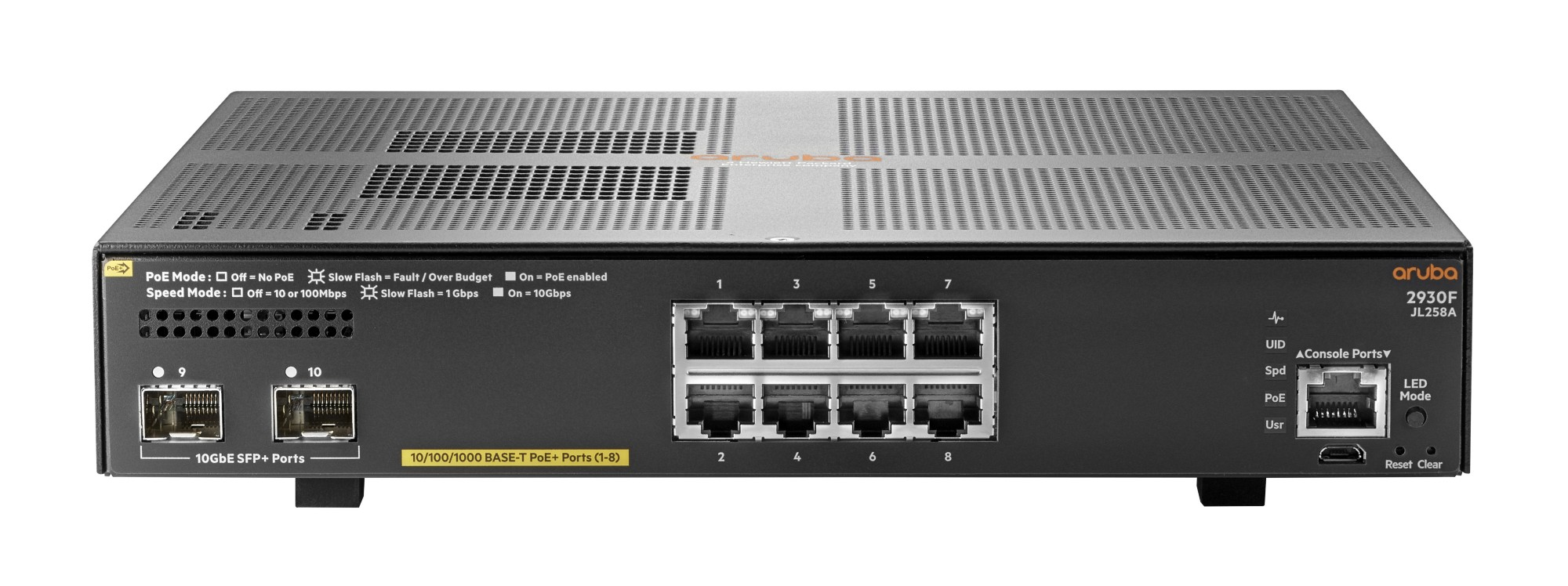 HPE JL258A ARUBA 2930F 8G POE+ 2SFP+ MANAGED NETWORK SWITCH L3 GIGABIT ETHERNET (10/100/1000) POWER OVER (POE) 1U GREY