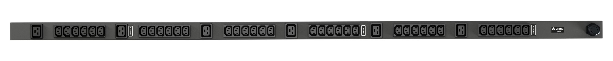 VERTIV VP7557 GEIST RPDU, BASIC, 0U, INPUT IEC60309 230/400V 3X16A, OUTPUTS (36)C13 | (6)C19 POWER DISTRIBUTION UNIT (PDU) BLACK 42 AC OUTLET(S)
