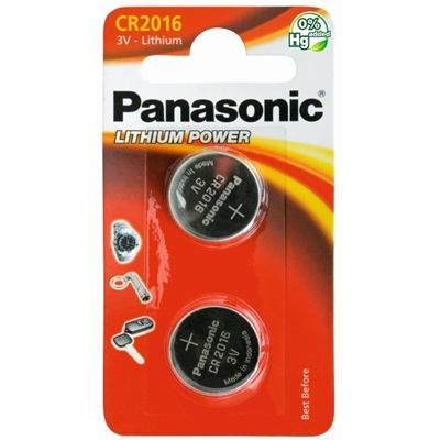 PANASONIC PANACR2016-B2 LITHIUM PACK OF 2 COIN CELL CR2016 BATTERIES