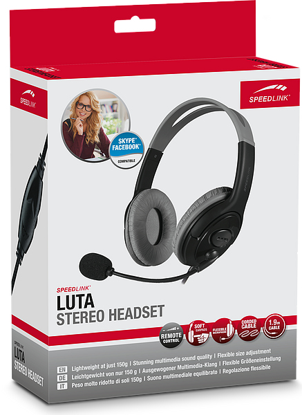 SPEEDLINK SL-870004-BK LUTA BINAURAL HEAD-BAND BLACK HEADSET