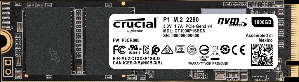 CRUCIAL CT1000P1SSD8 P1 1000 GB PCI EXPRESS 3.0 M.2