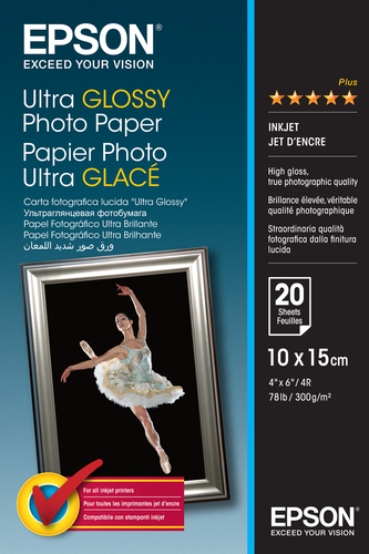 EPSON ULTRA GLOSSY PHOTO PAPER, 100 X 150 MM, 300G/M, 20 SHEETS