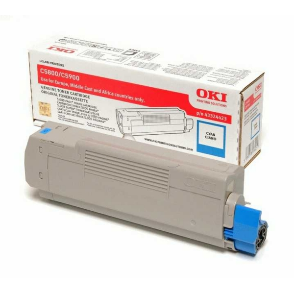 OKI 43324423 TONER CYAN, 5K PAGES @ 5% COVERAGE
