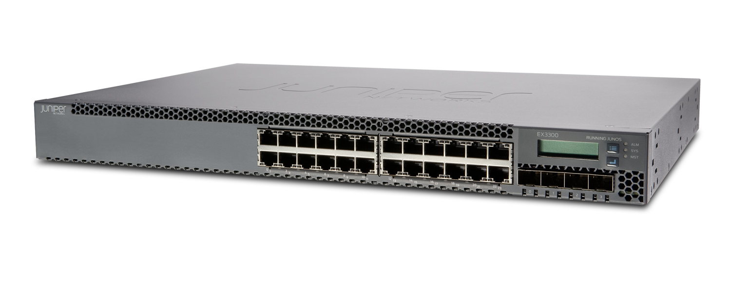 JUNIPER EX3300 24 PORT MANAGED NETWORK SWITCH L3 1U BLACK