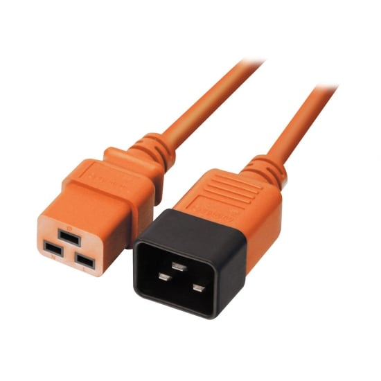 LINDY 30126 1M C19 COUPLER C20 ORANGE POWER CABLE