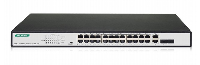 DIGITUS DN-95343 NETWORK SWITCH UNMANAGED FAST ETHERNET (10/100) BLACK, SILVER 1U POWER OVER (POE)