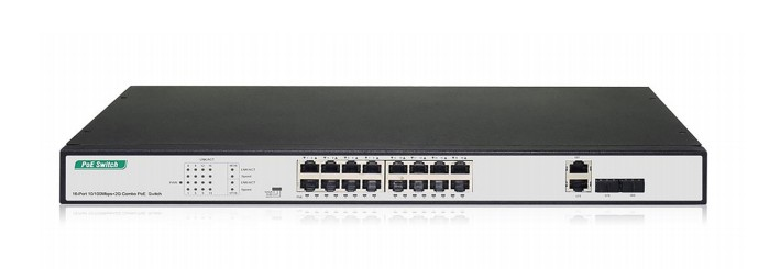 DIGITUS DN-95342 NETWORK SWITCH UNMANAGED FAST ETHERNET (10/100) BLACK, SILVER 1U POWER OVER (POE)
