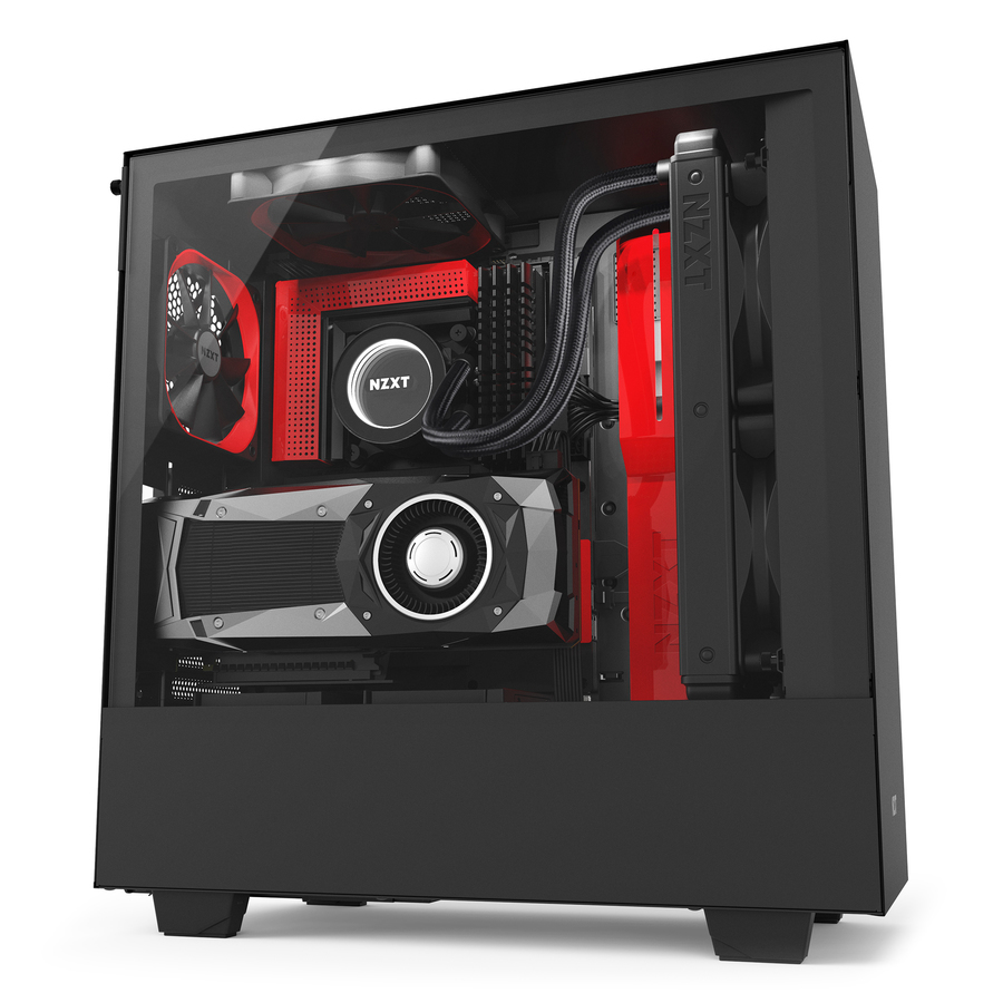 NZXT CA-H500W-BR H500I MIDI-TOWER BLACK, RED COMPUTER CASE