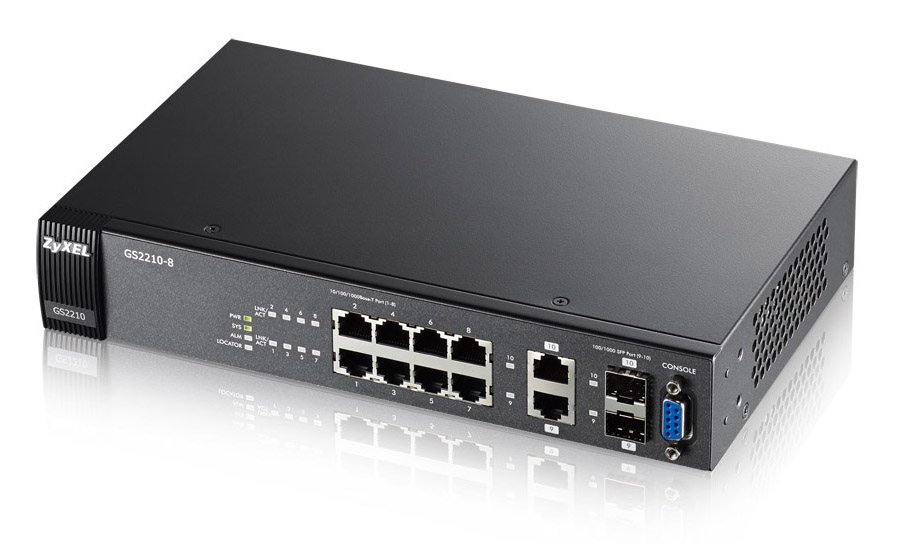 ZYXEL GS2210-8-EU0101F GS2210-8 MANAGED NETWORK SWITCH L2 GIGABIT ETHERNET (10/100/1000) BLACK