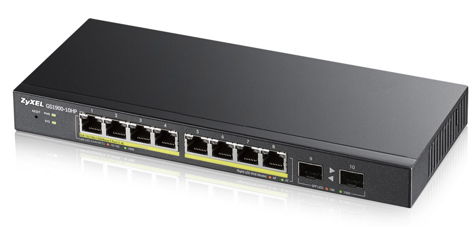 ZYXEL GS1900-10HP-EU0101F GS1900-10HP MANAGED NETWORK SWITCH L2 GIGABIT ETHERNET (10/100/1000) POWER OVER (POE) 1U BLACK