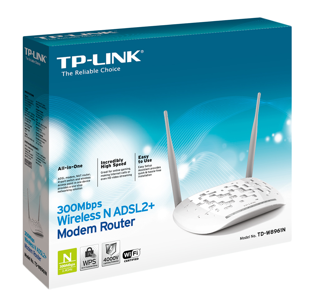 TP-LINK TD-W8961N FAST ETHERNET WHITE WIRELESS ROUTER