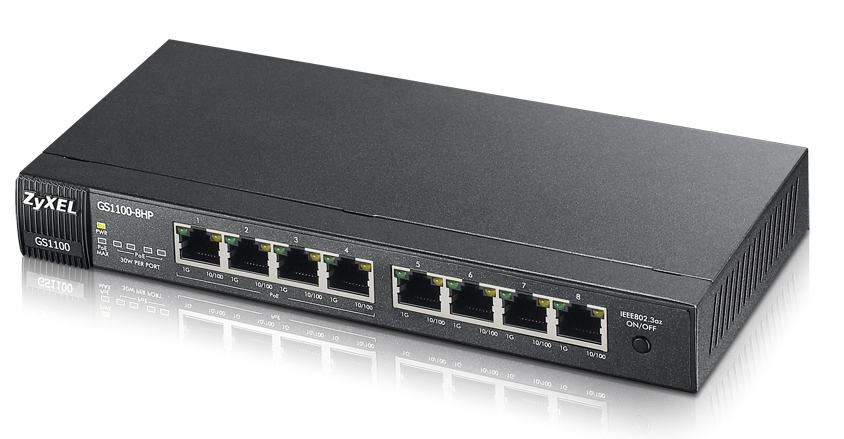 ZYXEL GS1100-8HP-EU0101F GS1100-8HP UNMANAGED NETWORK SWITCH POWER OVER ETHERNET (POE) BLACK