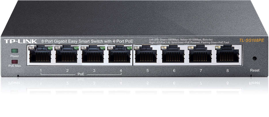TP-LINK TL-SG108PE V2 MANAGED L2 GIGABIT ETHERNET (10/100/1000) POWER OVER (POE) BLACK NETWORK SWITCH
