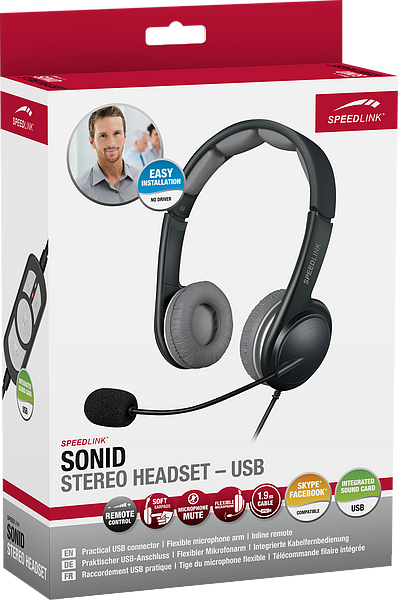 SPEEDLINK SL-870002-BKGY SONID BINAURAL HEAD-BAND BLACK HEADSET