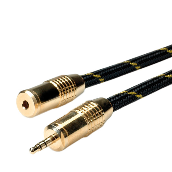 ROLINE 11.09.4755 GOLD 3.5MM AUDIO EXTENSION CABLE, MALE - FEMALE 5.0M CABLE