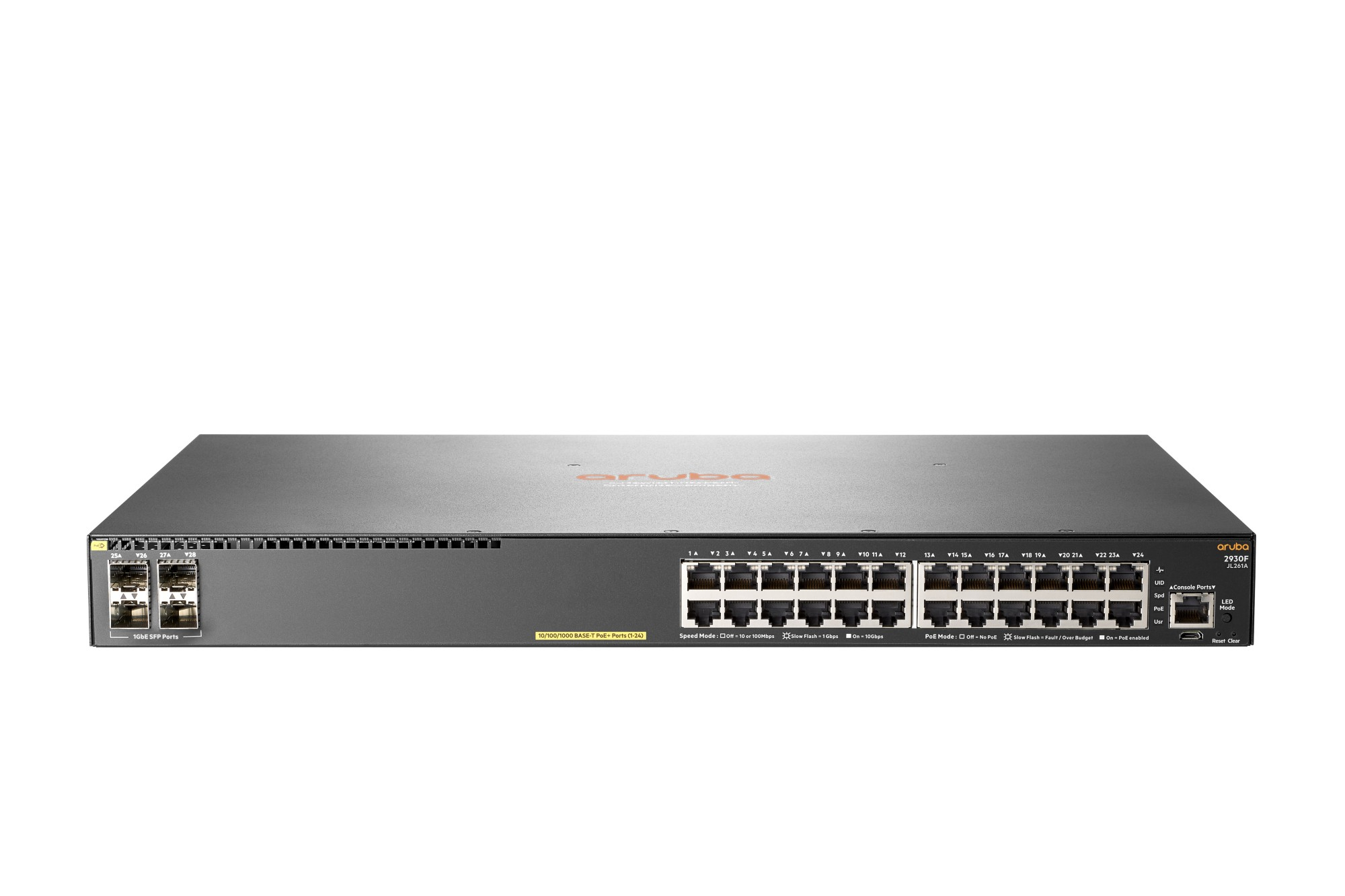 HPE JL261A#ABB ARUBA 2930F 24G POE+ 4SFP MANAGED NETWORK SWITCH L3 GIGABIT ETHERNET (10/100/1000) POWER OVER (POE) 1U GREY