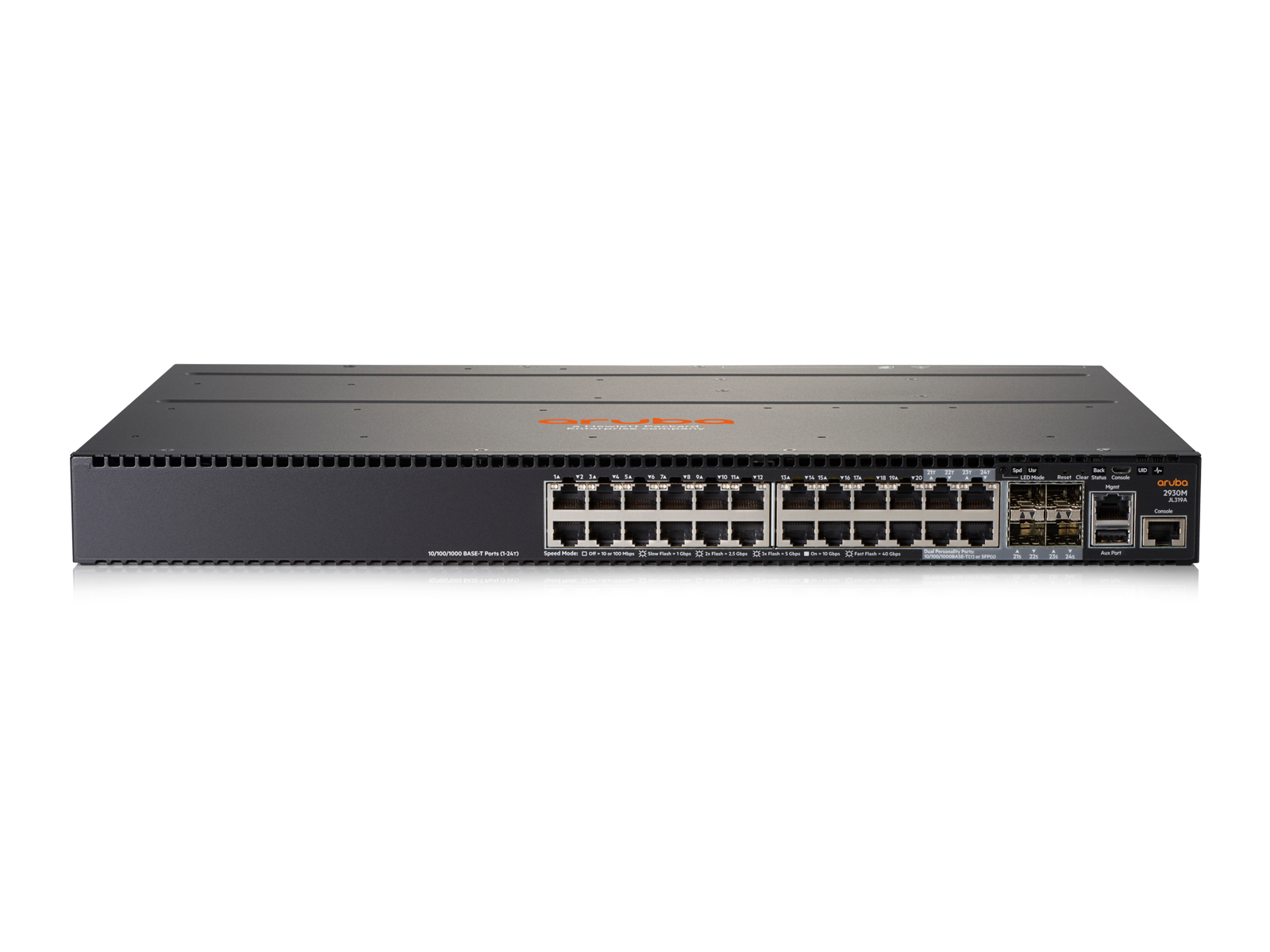 HPE JL319A ARUBA 2930M 24G 1-SLOT MANAGED L3 GIGABIT ETHERNET (10/100/1000) 1U GREY