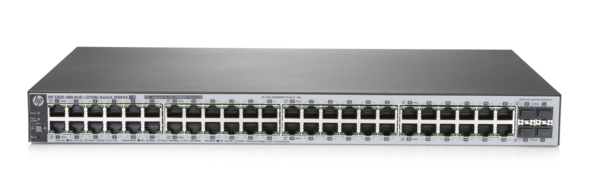 HPE J9984A 1820-48G-POE+ (370W) MANAGED NETWORK SWITCH L2 GIGABIT ETHERNET (10/100/1000) POWER OVER (POE) 1U GREY