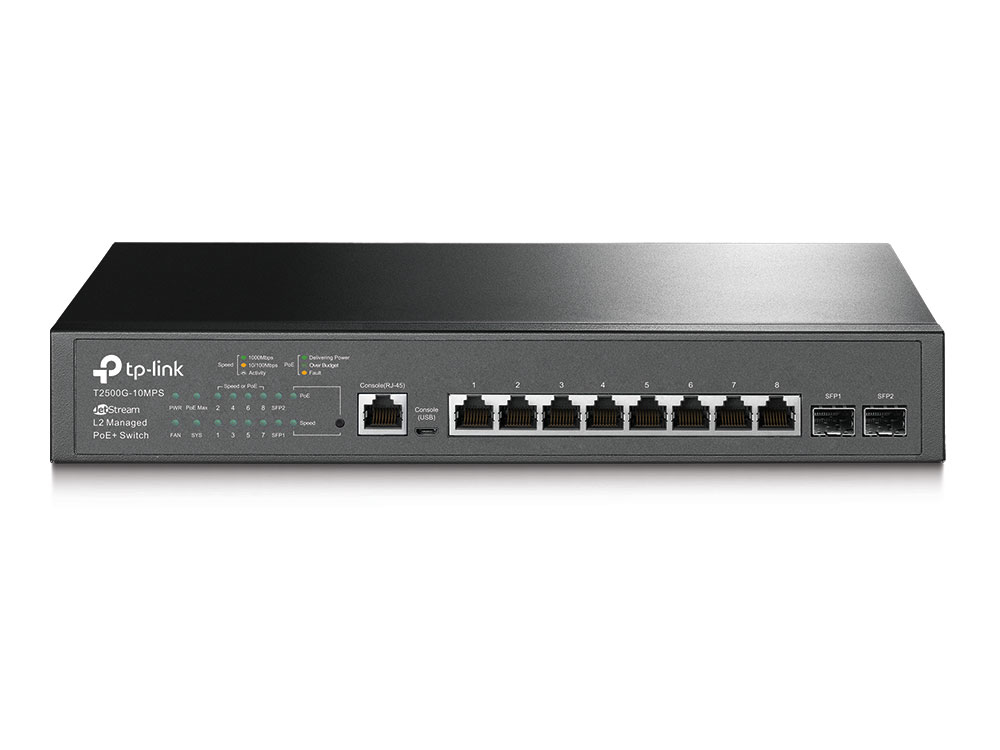 TP-LINK T2500G-10MPS JETSTREAM MANAGED L2 GIGABIT ETHERNET (10/100/1000) POWER OVER (POE) BLACK