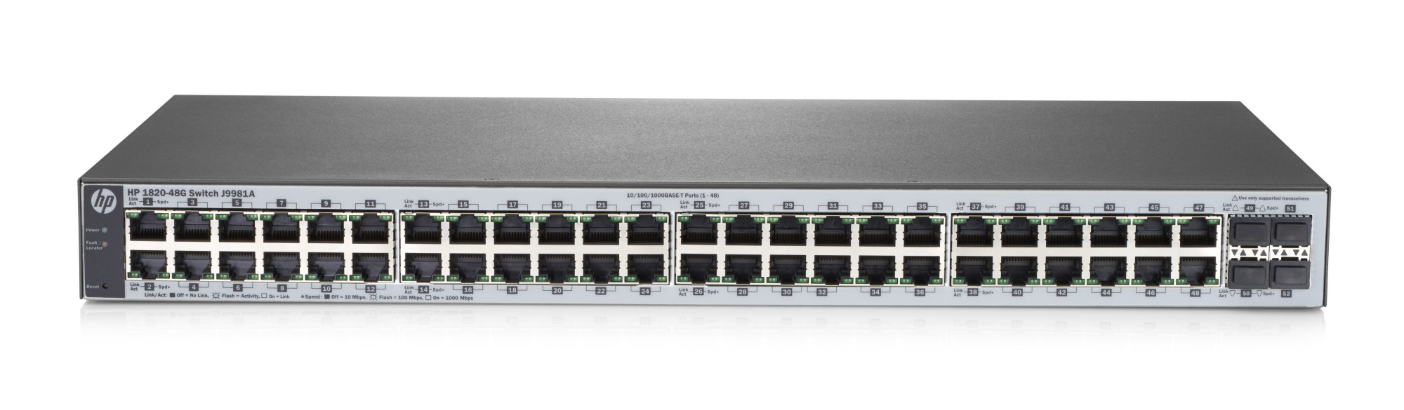 HPE J9981A 1820-48G MANAGED NETWORK SWITCH L2 GIGABIT ETHERNET (10/100/1000) 1U GREY