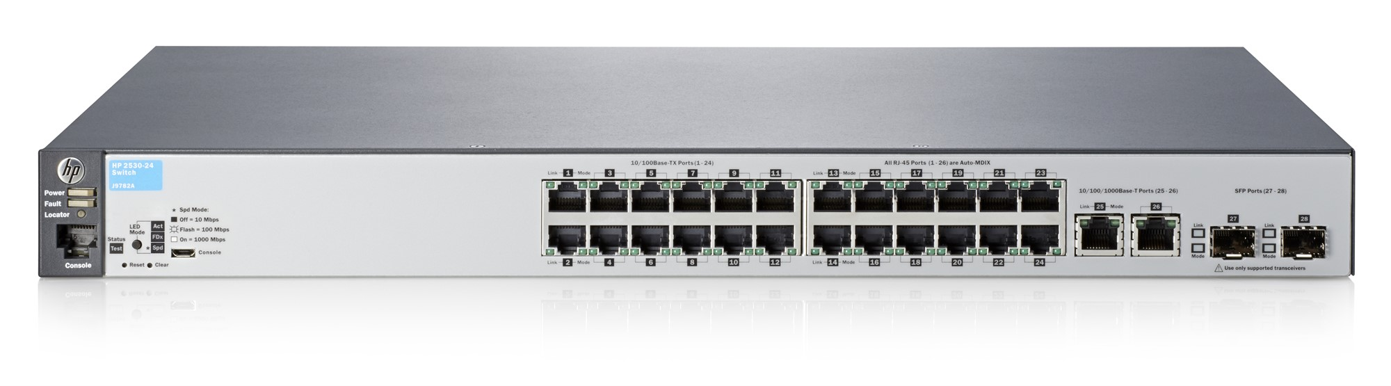 HPE J9782A#ABB ARUBA 2530-24 MANAGED NETWORK SWITCH L2 FAST ETHERNET (10/100) 1U GREY