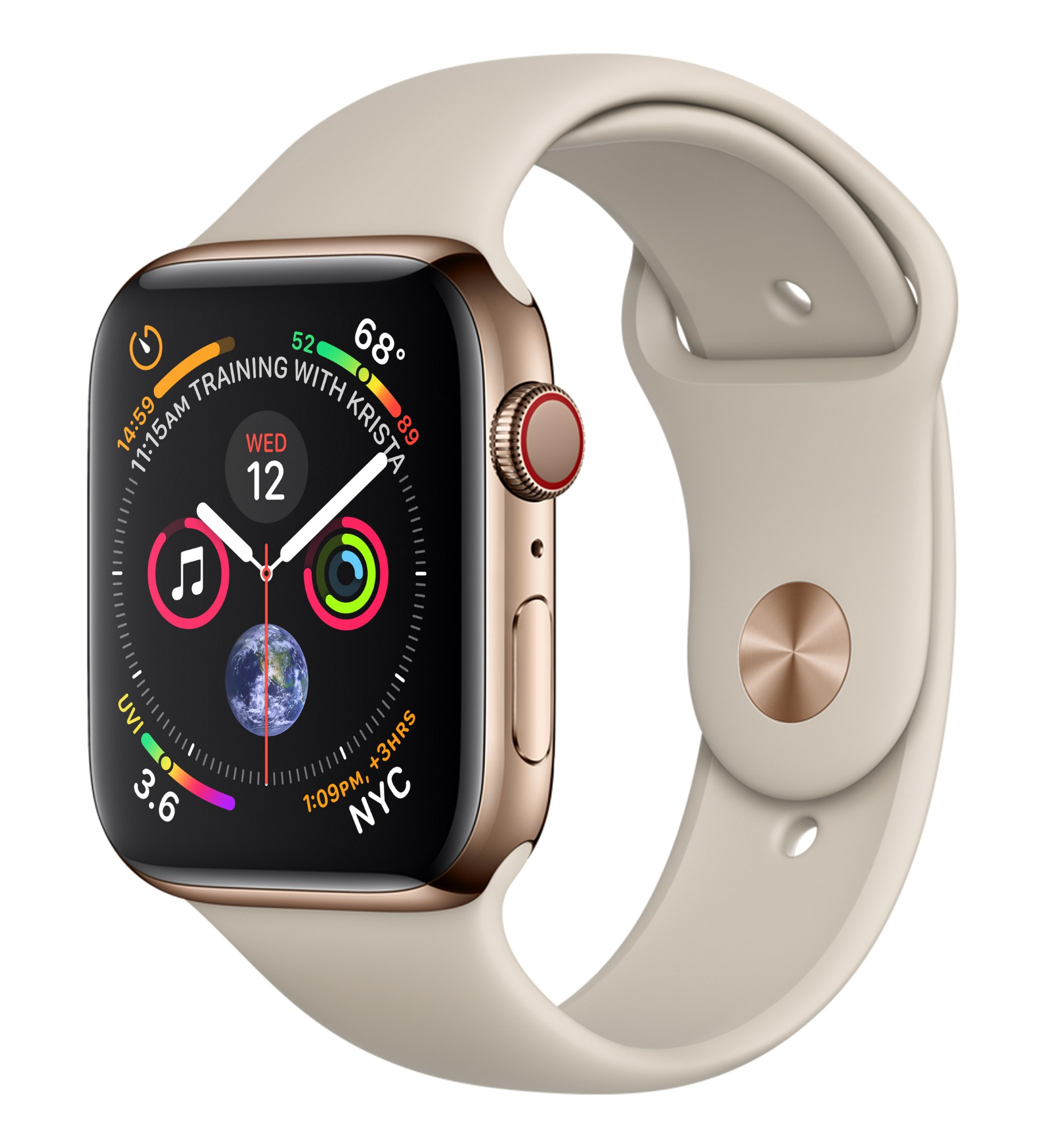 APPLE MTX42B/A WATCH SERIES 4 SMARTWATCH GOLD OLED CELLULAR GPS (SATELLITE)