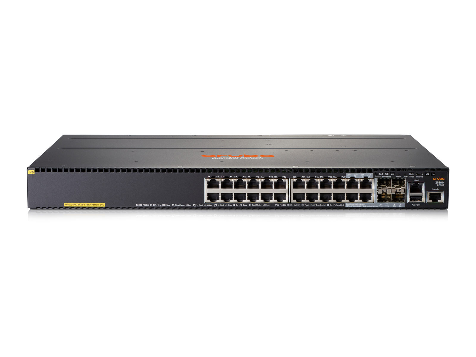 HPE JL320A ARUBA 2930M 24G POE+ 1-SLOT MANAGED L3 GIGABIT ETHERNET (10/100/1000) POWER OVER (POE) 1U GREY