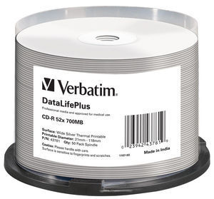 VERBATIM 43781 DATALIFEPLUS CD-R 700MB 50PC(S)