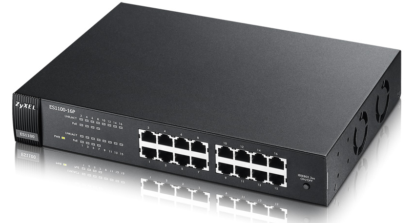 ZYXEL ES1100-16P-GB0102F ES1100-16P UNMANAGED NETWORK SWITCH L2 FAST ETHERNET (10/100) POWER OVER (POE) BLACK