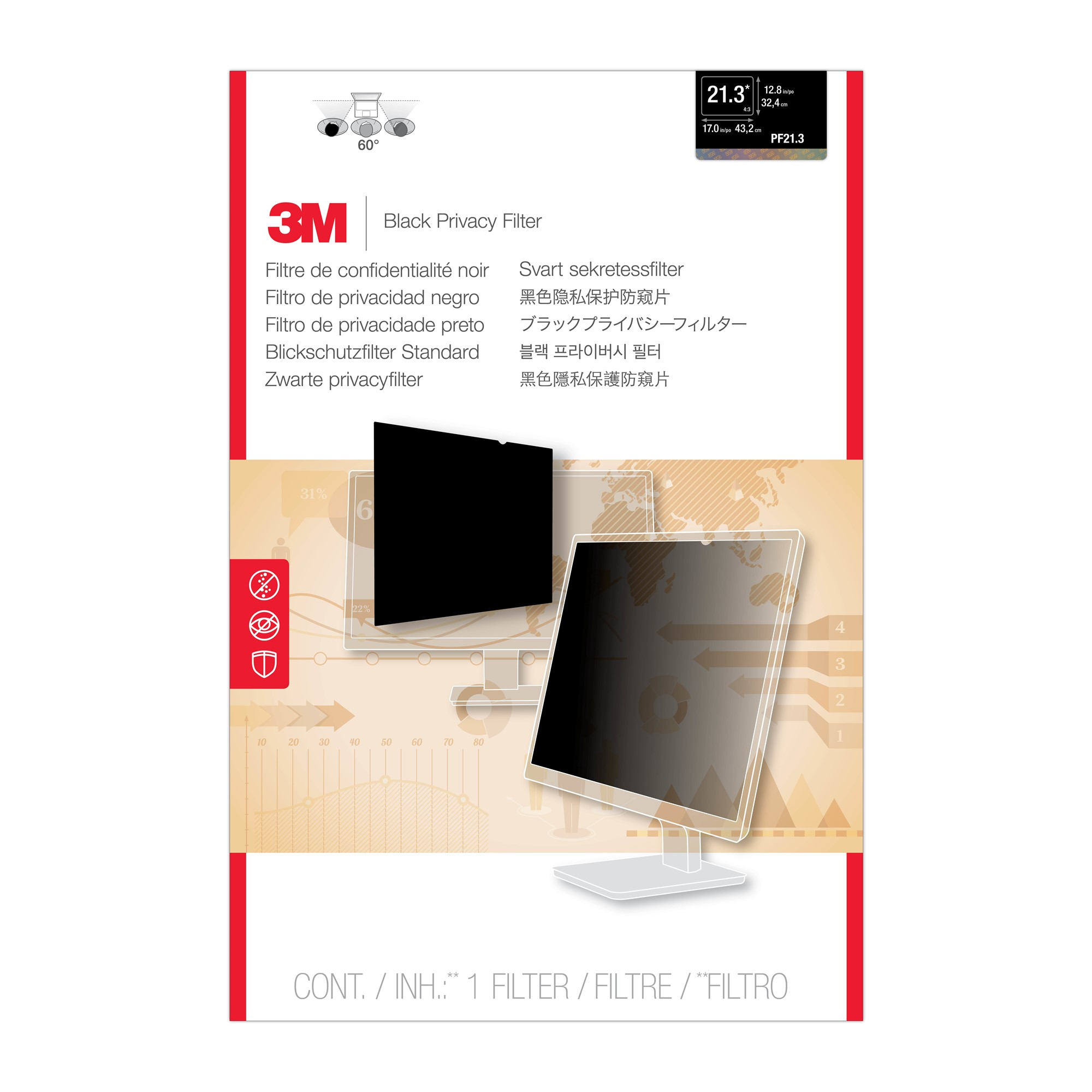 3M 98044054173 PF21.3 PRIVACY FILTER FOR DESKTOP LCD MONITOR 21.3