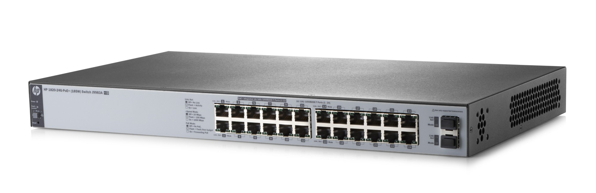 HPE J9983A 1820-24G-POE+ (185W) MANAGED NETWORK SWITCH L2 GIGABIT ETHERNET (10/100/1000) POWER OVER (POE) 1U GREY