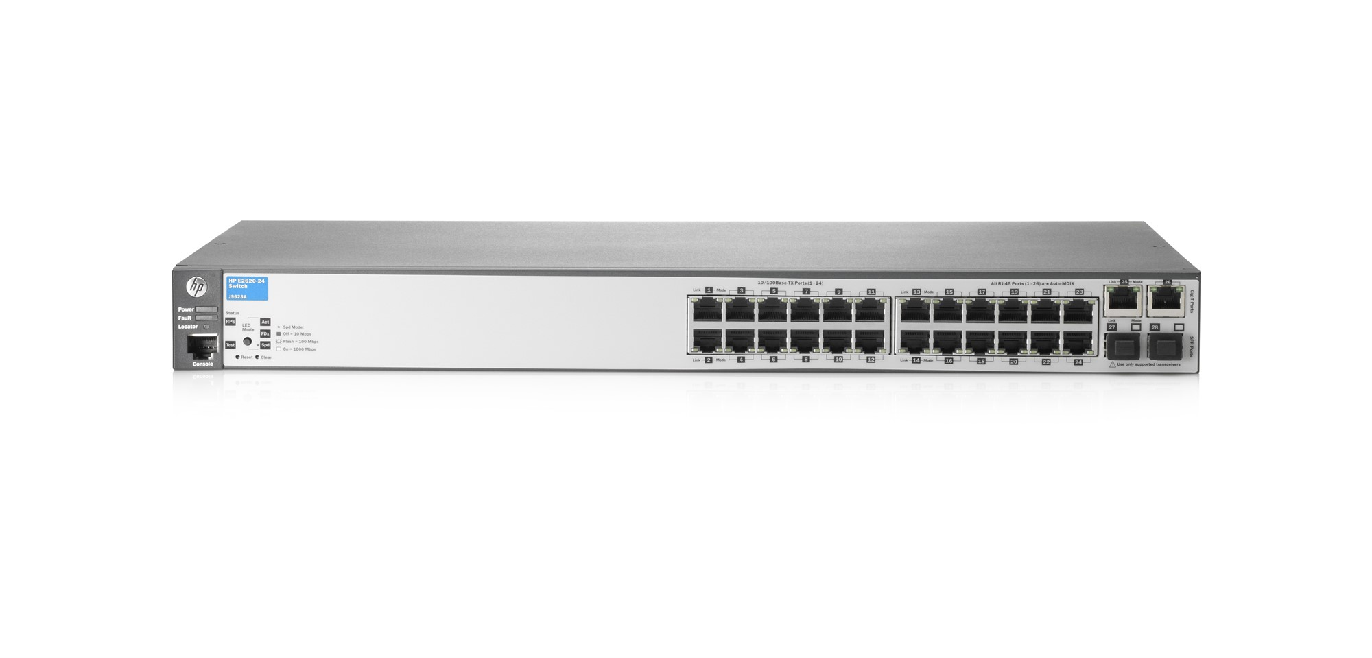 HPE J9623A#ABB 2620-24 MANAGED NETWORK SWITCH L2 FAST ETHERNET (10/100) 1U GREY