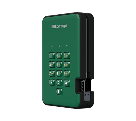 ISTORAGE IS-DA2-256-5000-GN DISKASHUR 2 EXTERNAL HARD DRIVE 5000 GB GREEN
