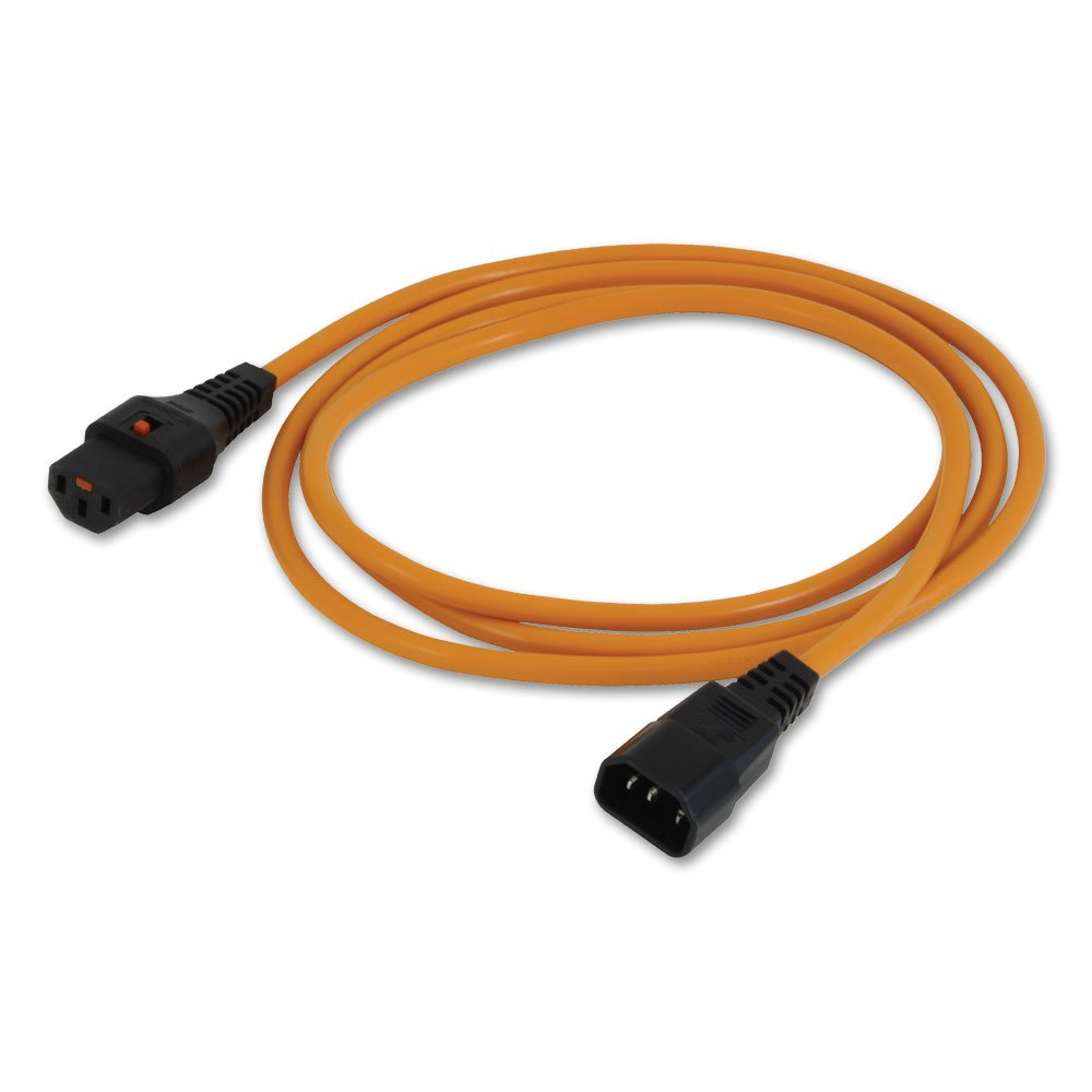 LINDY 30259 2M IEC C14 COUPLER C13 ORANGE POWER CABLE