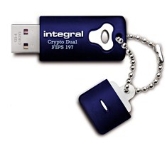 INTEGRAL INFD8GCRYPTODL197 8GB CRYPTO DUAL FIPS 197 USB 2.0 TYPE-A CONNECTOR BLUE FLASH DRIVE