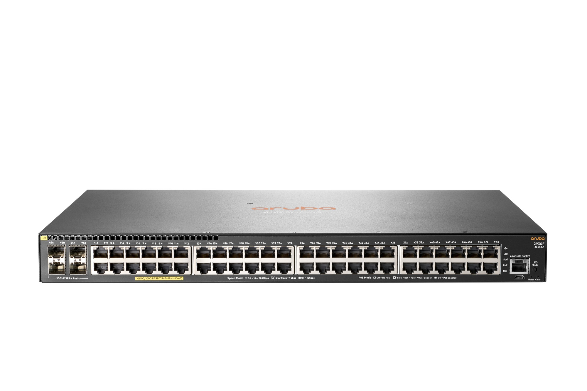 HPE JL256A#ABB ARUBA 2930F 48G POE+ 4SFP+ MANAGED NETWORK SWITCH L3 GIGABIT ETHERNET (10/100/1000) POWER OVER (POE) 1U GREY
