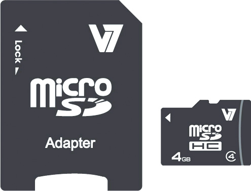 V7 VAMSDH4GCL4R-2E 4GB MICRO SDHC CARD CLASS 4 + ADAPTER