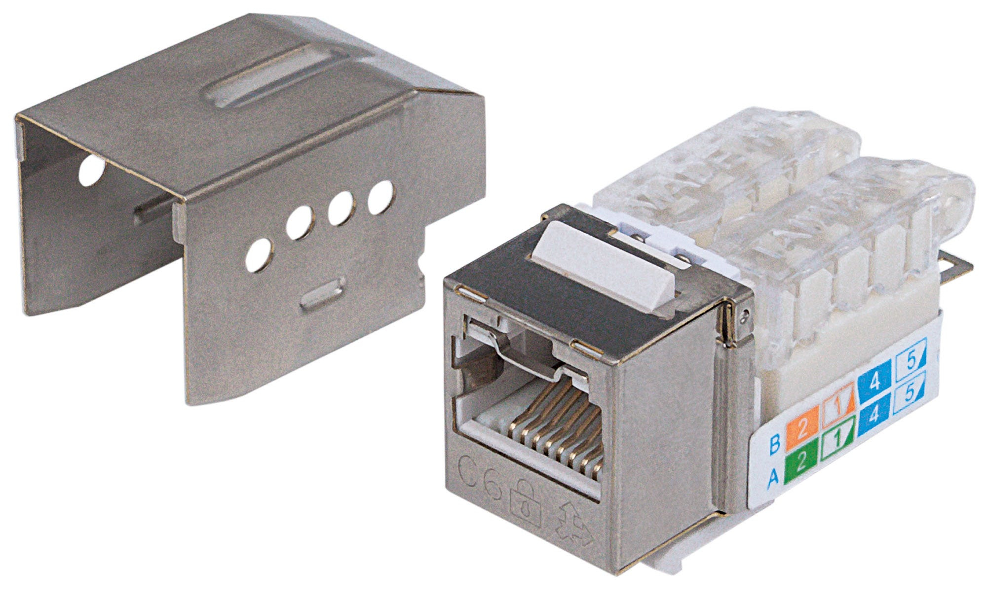 Intellinet Keystone Jack, Cat6A, FTP, Toolless, Locking Function, Metallic