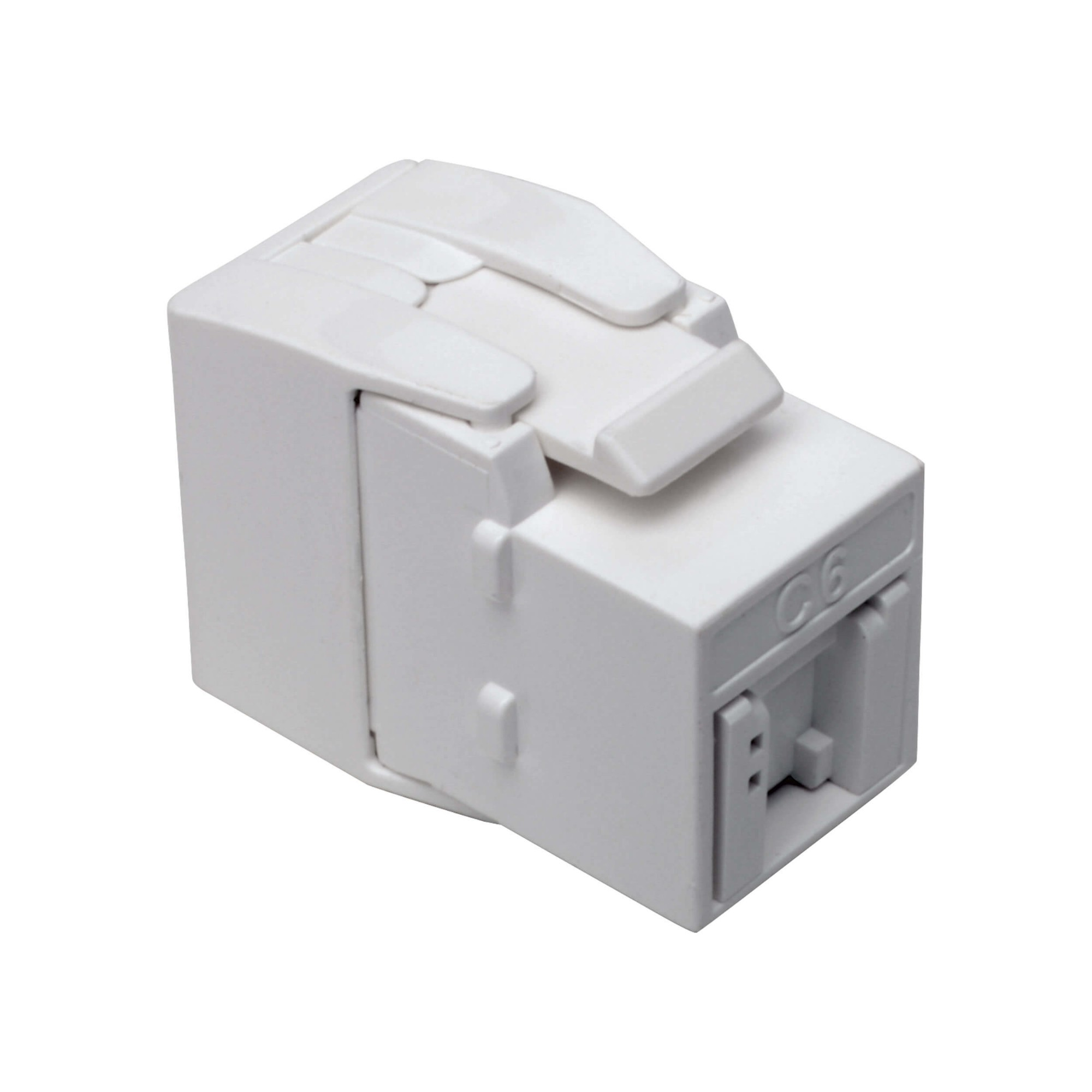 Tripp Lite Keystone Jack Cat6a/Cat6/Cat5e, RJ45, Shuttered, Dust Cap - Toolless, PoE/PoE+ Compliant, White