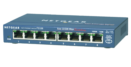 NETGEAR FS108-300PES UNMANAGED NETWORK SWITCH L2 FAST ETHERNET (10/100) BLUE