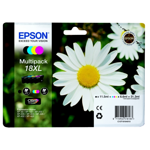 EPSON C13T18164511 (18XL) INK CARTRIDGE MULTI PACK, 470PG + 3X450PG, 1X 12ML + 3X 7ML, PACK QTY 4