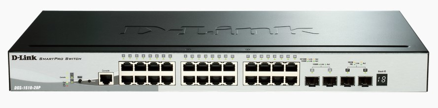D-LINK DGS-1510-28P MANAGED L3 GIGABIT ETHERNET POWER OVER (POE) BLACK NETWORK SWITCH