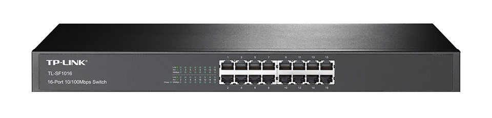 TP-LINK 16-PORT 10/100MBPS FAST ETHERNET SWITCH UNMANAGED NETWORK BLACK