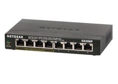 NETGEAR GS308P UNMANAGED NETWORK SWITCH GIGABIT ETHERNET POWER OVER (POE) BLACK