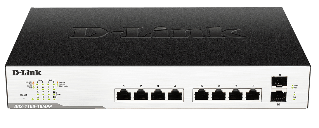 D-LINK DGS-1100-10MP MANAGED 1U BLACK NETWORK SWITCH