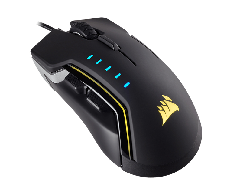 CORSAIR GLAIVE RGB USB OPTICAL 16000DPI RIGHT-HAND BLACK MICE