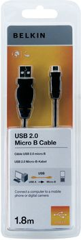 BELKIN USB CABLE - 4 PIN TYPE A (M) 5 MICRO-USB B 1.8M.